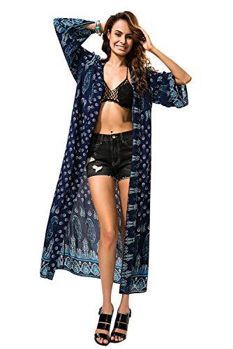 Cardigan Mujer Florales Verano Tallas Grandes Kimono de Gasa Largo Suelta Cárdigan Etnico Estampado Africano Indio Bohemio Vestir Ropa Piscina Playa Traje de Baño Camisolas y Pareos Beachwear