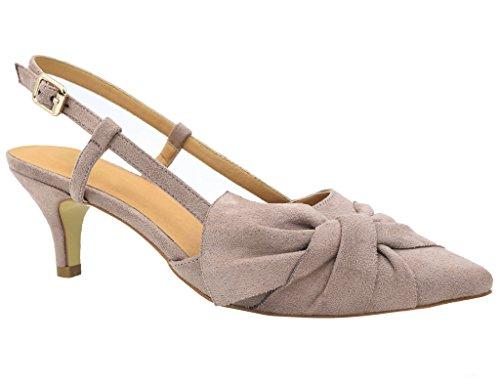 Greatonu Damen Sandalen Schleife Kitten Absatz Slingback Pointed Toe Rosa Größe 40EU