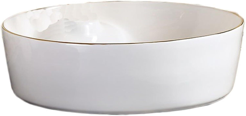 WINZSC Hochwertiges keramisches rundes oberes Gegenschnellwaschbecken zu Hause Hotelbadezimmerbecken-Kunstbeckenwaschbecken LO622253 (Farbe   B Only Sink)