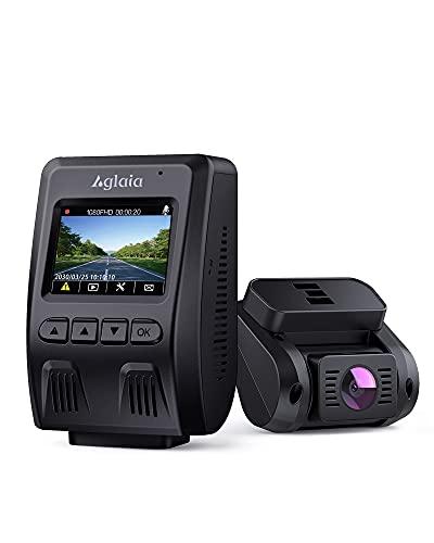 Aglaia Dual Dashcam 1080P FHD Autokamera Vorne und Hinten 170°Weitwinkelobjektiv WDR Nachtsicht Superkondensator G-Sensor GPS Notfallaufnahme Loop-Aufnahme Bewegungserkennung Einfache Installation