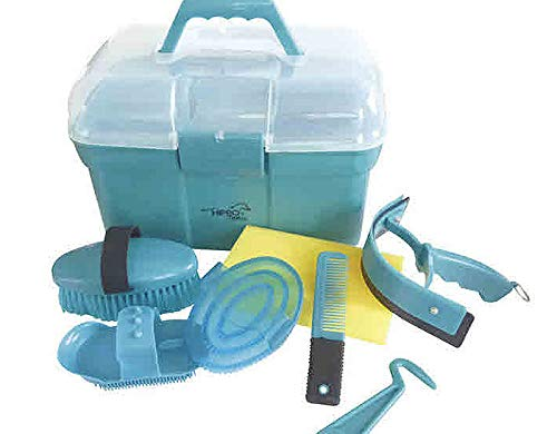 Putzbox Putzkiste befüllt für Kinder Farbe: türkis Pferdepflege oder für Schaukelpferd Pferde Putzset Pferdeputzzeug Pferdepflege