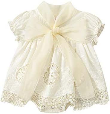 Newborn Baby Girls Romper Dress Lace Flowers Print Short Sleeve Bowknot Collar Jumpsuits Onesie product image