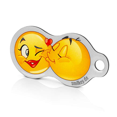 Code24 Einkaufswagenlöser Smilkey KISS, Schlüsselanhänger mit Einkaufschip & Schlüsselfinder, inkl. Registriercode für Schlüsselfundservice, Einkaufswagenchip mit Profiltiefenmesser, Key-Finder