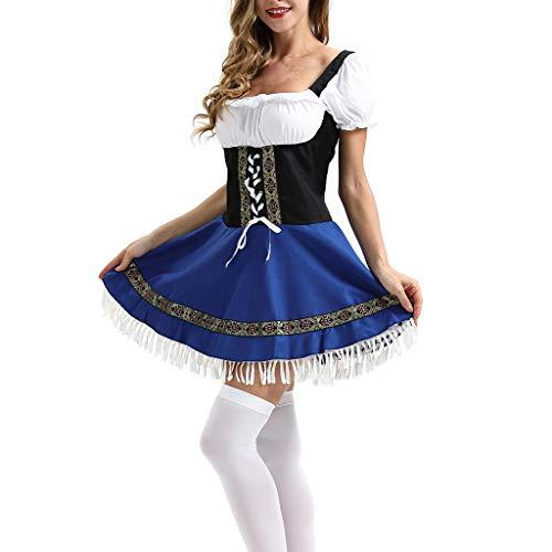 NEEKY Damen Trachtenmode Damen Beer Festival Kleid Maidservant Kleid Beer Festival Cosplay Kostüme Trachtenmode(3XL,Blau)