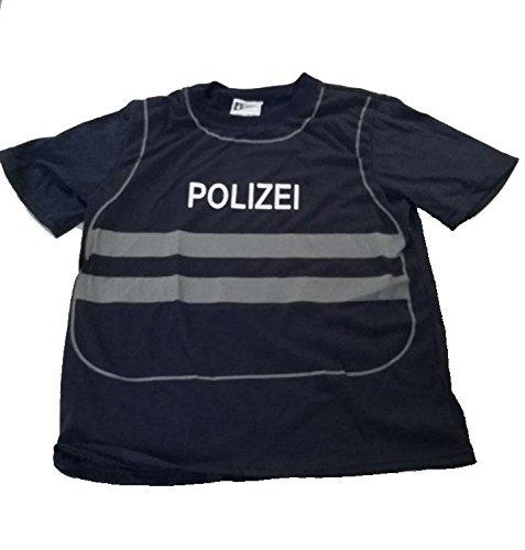 Foxxeo 40224I T-Shirt Weste Polizei Polizist für Kinder Uniform Kostüm Spieleshirt Kinderkostüm Gr. 86 - 140, Größe:122/128