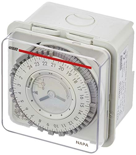Vemer VP884100 Interruptor horario electromecánico Napa-D de Pared o Panel, Gris Luminoso (ral 7035)
