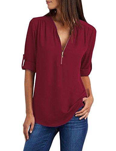 Cassiecy Bluse Damen Chiffon Elegant V-Ausschnitt Reißverschluss Tunika Oberteile Langarmshirts Casual T-Shirt Tops(Weinrot,s)