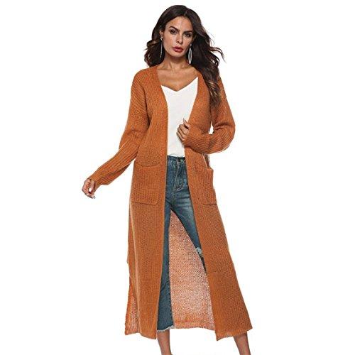 Moonuy Frauen Langarm Bluse Damen Langen Mantel Herbst Open Cape Casual Kimono Jacke Strickjacke mit Taschen (L2, Kaffee)