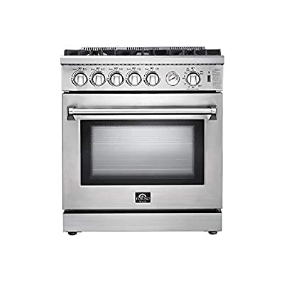 """FORNO Lseo 30"""" Inch 5-Burner Stainless Steel 70000 BTU Gas Convection Range with 4.23 Cubic Ft. Oven"""