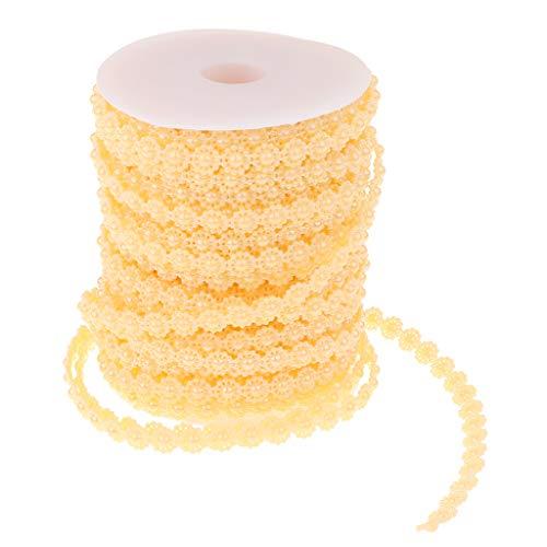 Baoblaze Chaîne Perles Demi-Cercle Perles Chaîne Artificielles en ABS pour Fabrication de Bijoux Colliers Bracelets de Cheville - Jaune Clair