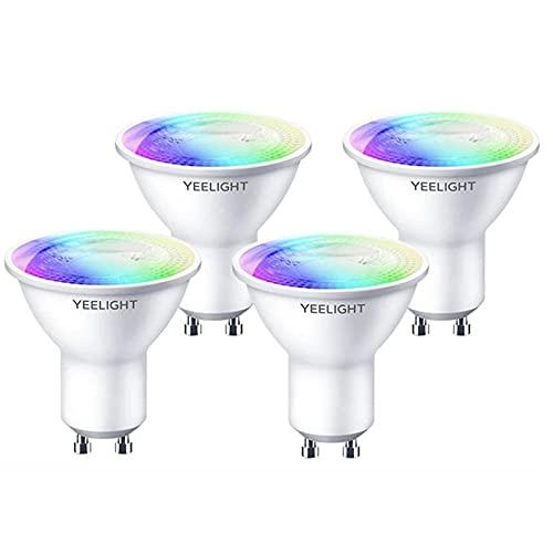 Yeelight Lámpara WiFi GU10 W1, 4,5 W, 350 lúmenes, no requiere concentrador, bombilla LED inteligente, compatible con sincronización, funciona con Google Assistant Alexa Control de (color, 4 unidad)
