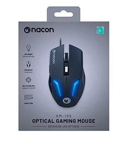Nacon - Ratón Gaming PCGM-105 Con Luz Azul, 6 Botones, 800 a 2400 DPI, USB Plug & Play, 1.5 M (PC)