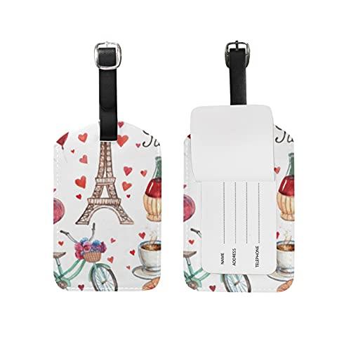 Corazón Torre De París Amor Viaje Etiqueta del Equipaje con la Tarjeta de la ID del Nombre Etiquetas de la Maleta para Niños Niñas(3PACK)