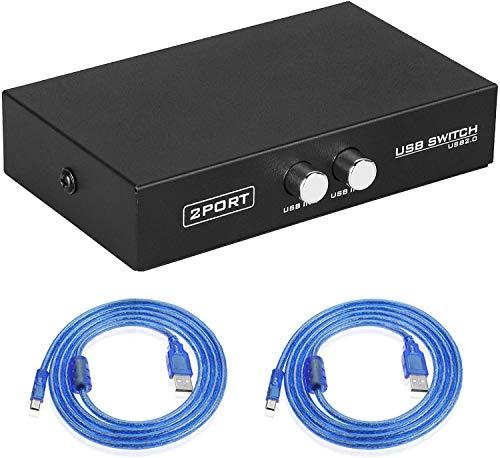 EEEKit Bundle für Drucker Switch, 2 Port USB 2.0 Manueller Druckerscanner Sharing Switch Hub 2 PC auf 1 Splitter Adapter, 2 Stück USB A nach B Druckerkabel