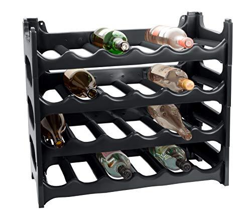 ARTECSIS Weinregal stapelbar Kunststoff für 24 Flaschen, stabiles leichtes Flaschenregal für Keller, Gastronomie und Lagerraum, modular erweiterbare Flaschen- und Weinlagerung, Anthrazit