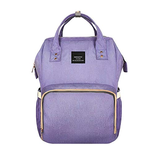 Sac Momie Sac à Dos Tendance Sac à Dos Multifonctionnel pour Couches (Couleur : Purple)