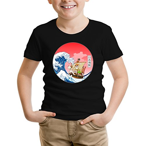 T-Shirt Enfant Noir One Piece parodique La Grande Vague de Kanagawa et Le Vogue Merry : Pirates en mer du Japon. : (Parodie One Piece)