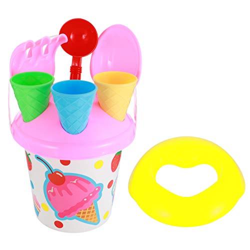 STOBOK Brinquedos da Praia da Areia Set Ice Cream Mold Conjunto Com Balde Balde de Praia Brinquedos para Crianças Crianças Brincar Ao Ar Livre