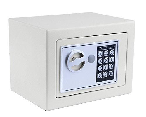 Meykey Cassaforte Elettronica, Cassaforte Piccola,2 Chiave per apertura d'emergenza,23 × 17 × 17 cm,Bianco
