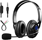 Sumcoo 3.5mm Computer Headset with Microphone, Comfort-fit Office Computer Headphone with On-Line Volume Control, Over-The-Head Headset for Webinar Laptop Call Center Students Online Study
