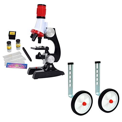 Kids Beginner Microscope Kit and Training Wheels, Science Kits with LED Magnification, 1 Pair Rear Wheel Bicycle Adjustable Stabilizers Mounted Kit for Kid Educational Toy Birthday