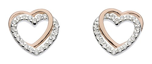 Dew Sterling Silver with 14ct Rose Gold Plate and Cubic Zirconia Entwined Heart Stud Earrings 3706RCZ