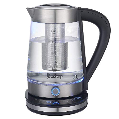 Large Electric Kettle - 110V 1500W 1.8L /2.5L Stainless Steel/Glass Electric Kettle with Auto Shutoff BPA-Free Fast Heating, Boil Dry Protection for Tea and Coffee (US Standard) (Glass(2.5L))