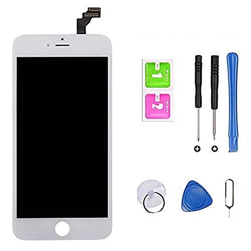 Hoonyer Pantalla para iPhone 6 Pantalla táctil LCD Kit de Pantalla de Vidrio Desmontaje Repuesto Ensamblaje de Marco Digitalizador Herramienta de reemplazo de conversión Completa(4.7',Blanco)