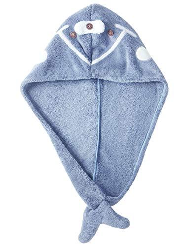 Bonnet Pour Cheveux Secs, Serviette Absorbante Pour Cheveux Style Cartoon, Bonnet De Douche Cheveux Longs Adulte - Bleu