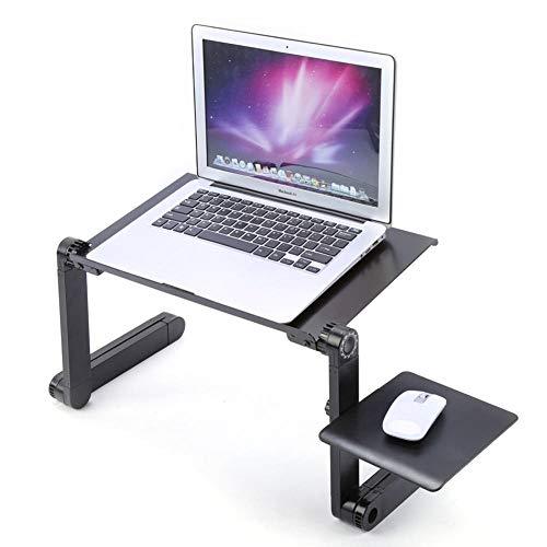 Draagbare opvouwbare en verstelbare klaptafel, notebook-computertafel, notebookstandaard, met muisbord, slaapbank, zwart