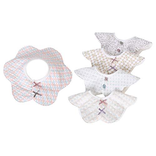 Healifty 5 Pezzi Bavaglini per Bebè Bandana Bavaglini a Forma di Fiore Bavaglini per Neonati in Cotone a Forma di Fiore per Neonato Bambino 24X24 Cm