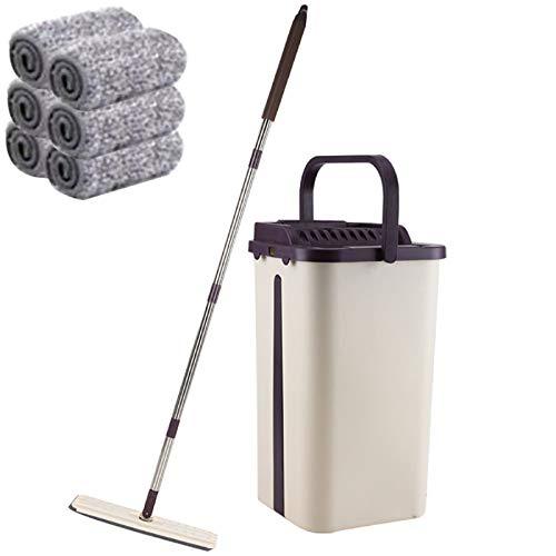 YORKING Flacher Mopp Bodenwischer Wischmop Mopp Und Eimer Set Wischbezug 6 Mikrofaserpad Putzlappe für Waschen Und Trocknen Von Böden