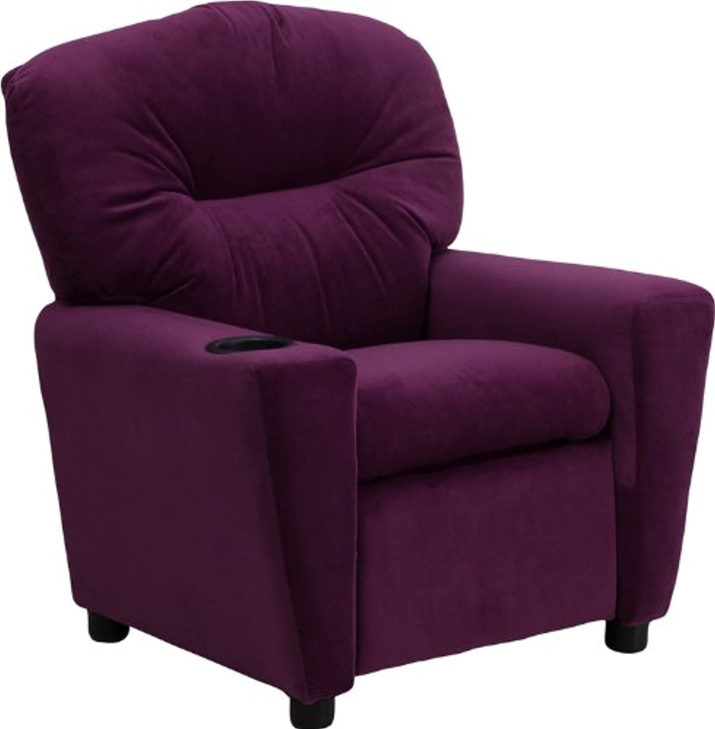 Flash Furniture BT-7950-KID-MIC-PUR-GG Contemporary Purple Microfiber Kids Recliner with Cup Holder