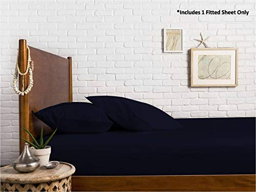 100% Rasatello di Cotone Egiziano con Trama a 1000Fili Elasticizzati Materasso Elastico Tutto Intorno–Adatto Fino a 45,7cm di Filo Spread, 100% Cotone Egiziano, Navy Blue, Queen