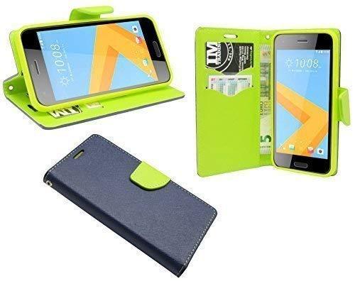 ENERGMiX Buchtasche kompatibel mit HTC One A9S Hülle Hülle Tasche Wallet BookStyle mit Standfunktion in Blau-Grün (2-Farbig)