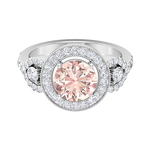 Anillo solitario vintage, piedras preciosas redondas de 3,41 quilates, anillo de moissanita D-VSSI, anillo de morganita creado en laboratorio de 8 mm, joyería de novia, 14K Oro blanco, Size:EU 57