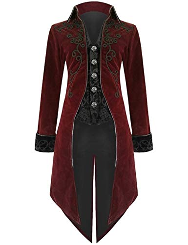 EZSTAX Mittelalter Frackjacke Vintage Herren Kostüm Gothic Uniform Anzug für Party Karneval Fastnacht Fasching Halloween,Rot,XXL
