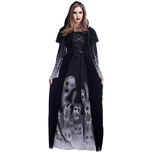 YZstore Adulto Disfraz de Halloween Dama Traje de Bruja Mujeres Cosplay Vampiresa Vestido de Calavera