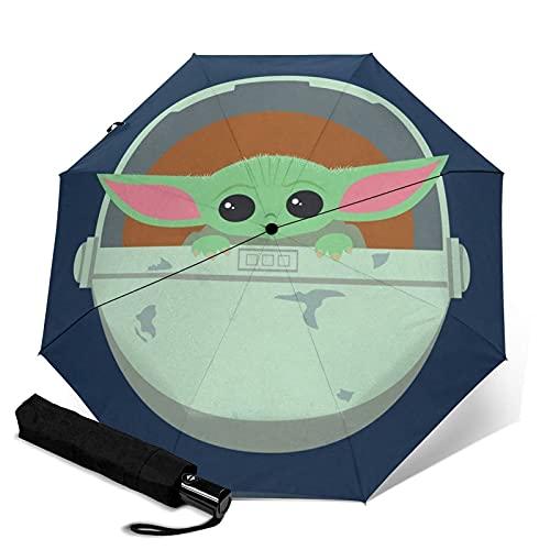 Paraguas plegables Star Mandalorian Wars Baby Yoda Paraguas automático unisex de tres pliegues Impermeable Protección solar Resistente Paraguas duraderos a prueba de viento