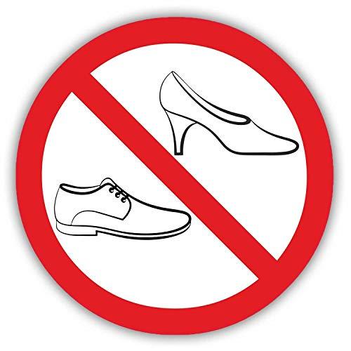 Verbots-Aufkleber Schuhe verboten I rund Ø 10 cm I Betreten der Fläche mit Schuhen Nicht gestattet I Straßen-Schuh-Verbot I hin_124