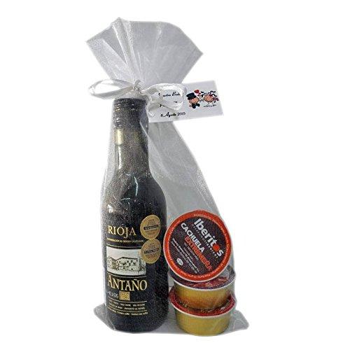 Lote de vino Rioja Antaño con 3 monodosis para regalar en bolsa de organza (Pack 24 ud)