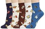 Women's Cool Animal Fun Crazy Socks (Food Porn New 5 Pairs)