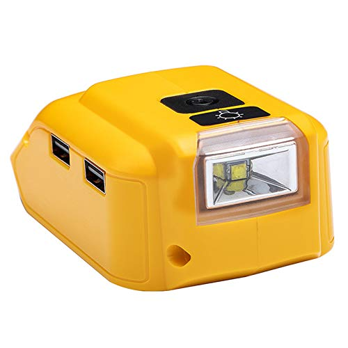 Huante DCB090 Suitable for 12 V18 V Lithium Battery, Dual USB Electric Tool Charger with 3 W Lamp