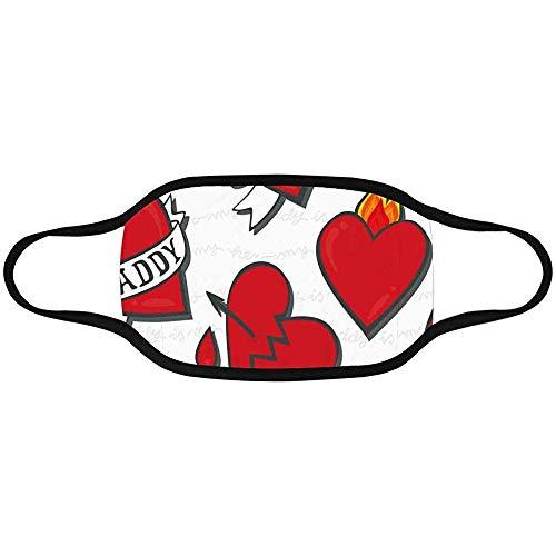 Daddy Love Daddy'S Girl Heart Tattoo Pattern en Blanco con Notas Mascarilla bucal Antipolvo Transpirable Tela Agradable para la Piel
