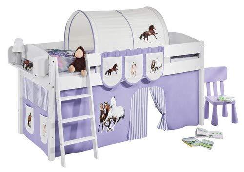 Lilokids Spielbett IDA 4105 Pferde Lila Beige-Teilbares Systemhochbett weiß-mit Vorhang Kinderbett, Holz, 208 x 98 x 113 cm