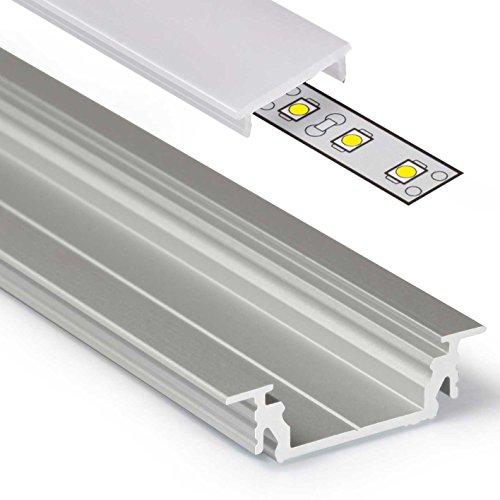 2m Aluprofil GROOVE14 (GR14) Aluminium Profil-Leiste eloxiert für LED Streifen - Set inkl Abdeckung-Schiene mit Montage-Klammern, Endkappen