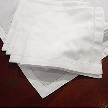American Pillowcase Hemstitch Dinner Napkins Set of 12 - White - One Dozen - 100% Egyptian Cotton - Elegant Cloth - Super Value Bulk 12 Pack