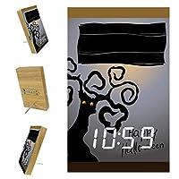 寝室用デジタル目覚まし時計キッチンオフィス3アラーム設定ラジオウッドデスククロック-ハロウィーンオールドツリー