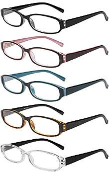 Success Eyewear Reading Glasses 5 Pairs Spring Hinge Fashion Quality Readers for Men and Women +3.5 Set of Black Black Pink Black Blue Black Havana Black Clear 52mm