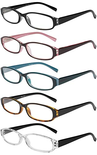 Reading Glasses 5 Pairs Spring Hinge Fashion Quality Readers, Black, Size 52mm 10 Pair Reading Glasses
